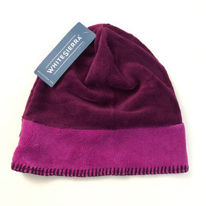 White Sierra Cozy Beanie Fleece Purple Two Tone